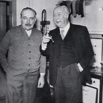 Bürgermeister Kaisen und Bundespräsident Theodor Heuss in der Wohnküche in Borgfeld 1952