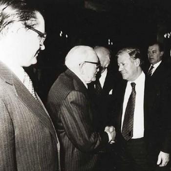 Hans Koschnick, Wilhelm Kaisen, Helmut Schmidt 1979